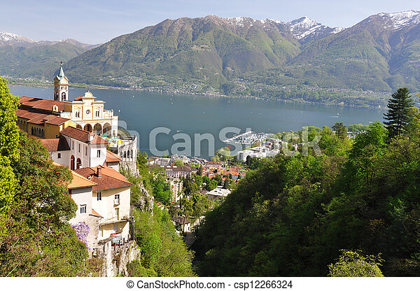 Madonna del Sasso, medieval monastery on the rock overlook lake Maggiore, Switzerland - csp12266324