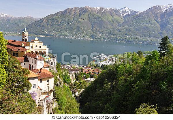 Madonna del Sasso, medieval monastery on the rock overlook lake Maggiore, Switzerland  - csp12266324
