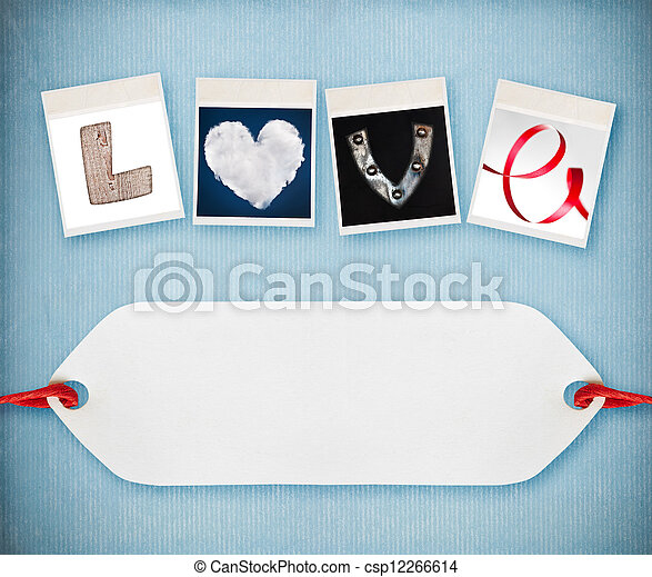 Love word made of four different objects, valentine's day concept, free space for your text - csp12266614