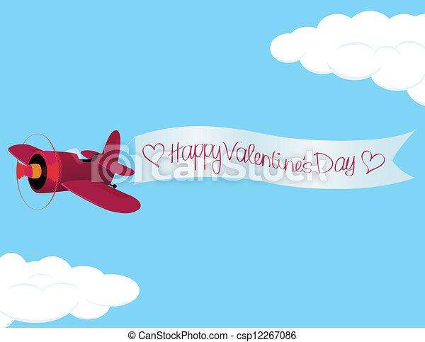 Valentine´s Day Plane - csp12267086