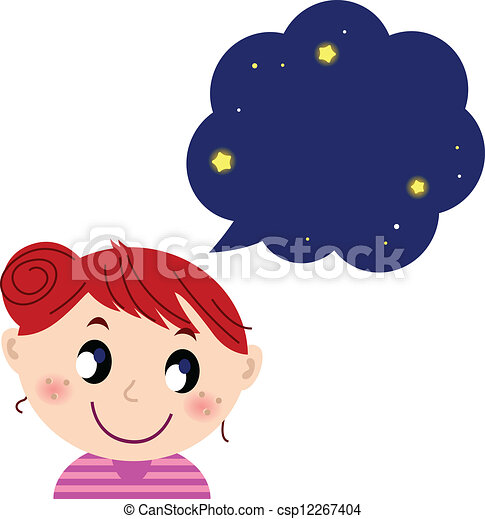 Vector Clipart of Little cute girl with dreaming bubble - Happy ...