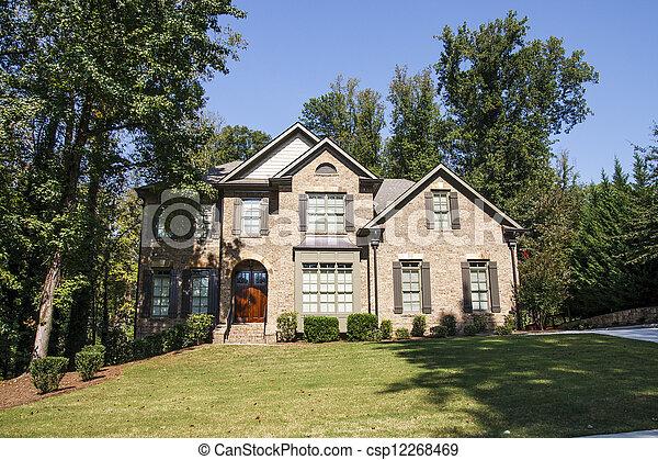 Image de maison ombreux brique colline gentil a for Maison sur colline