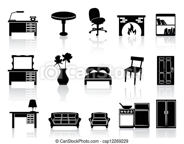 vector illustration of black simple furniture icon - isolated