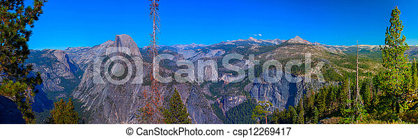 Panoramic view to Half Dome from Glacier Point in Yosemite National park, California - csp12269417