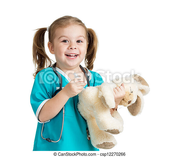 Adorable child with clothes of doctor with hare toy over white - csp12270266