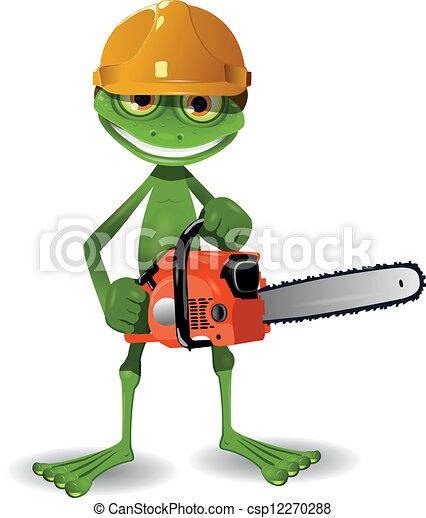 Vecteur de tron onneuse grenouille vert grenouille dans a csp12270288 recherchez des - Coloriage tronconneuse ...