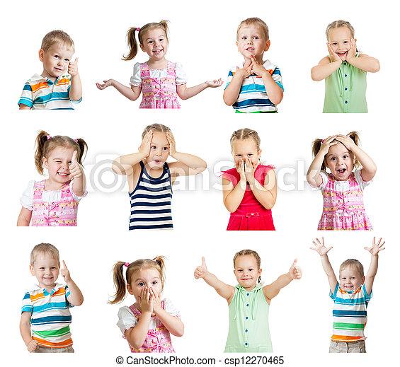 別, 子供, ポジティブ, 隔離された, コレクション, 感情, 背景, 白 - csp12270465