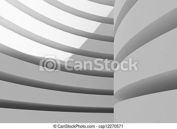 abstract white architecture building, 3d rendering - csp12270571
