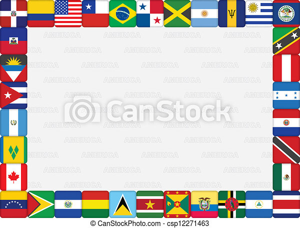 Clip Art Vector of American countries flag icons frame ...