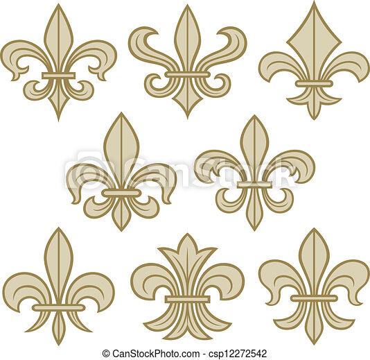 fleur de lis scroll antique - csp12272542