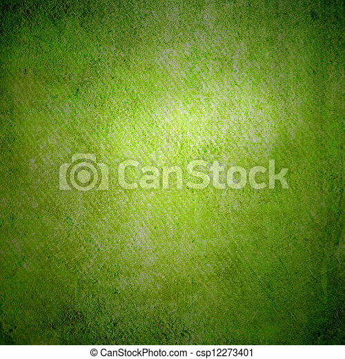 Abstract green background or paper with bright center spotlight and dark border frame with grunge background texture. For vintage layout design of light colorful graphic art  - csp12273401
