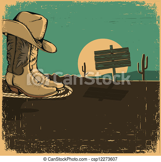 Vector - Western illustration with cowboy shoes and desert landscape ...Western Desert Clipart