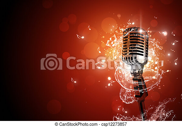 mikrofon, musik,  retro, bakgrund - csp12273857