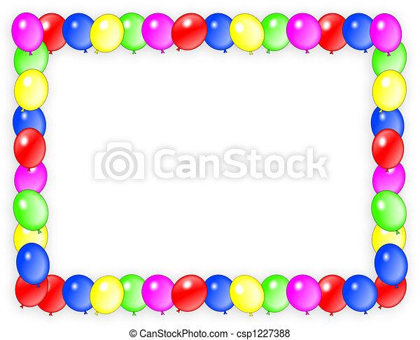 aniversário, convite, balões, Quadro - csp1227388