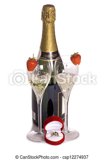 Champagne and ring for valentines day - csp12274937