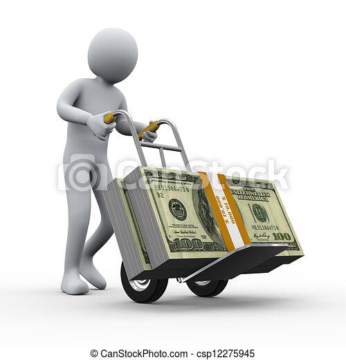 3d man with money hand truck - csp12275945