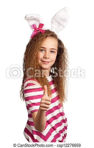 Girl with bunny ears - csp12276659