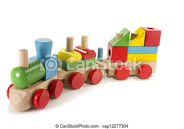 toy train made from wood  - csp12277304