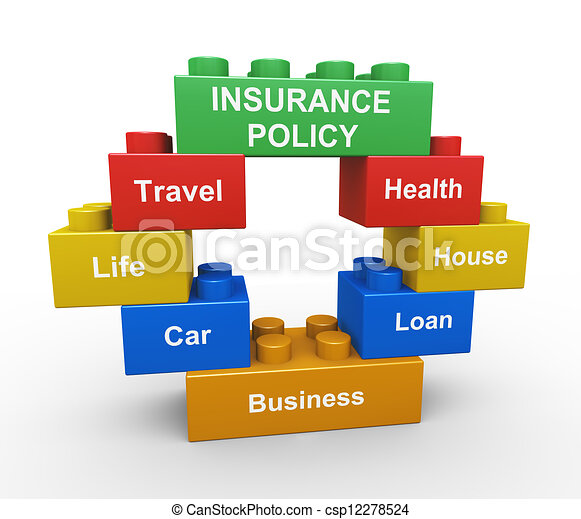 3d insurance policy child toy block - csp12278524