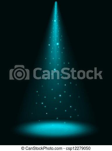 矢量-摘要, 阶段, 发光闪烁, 聚光灯