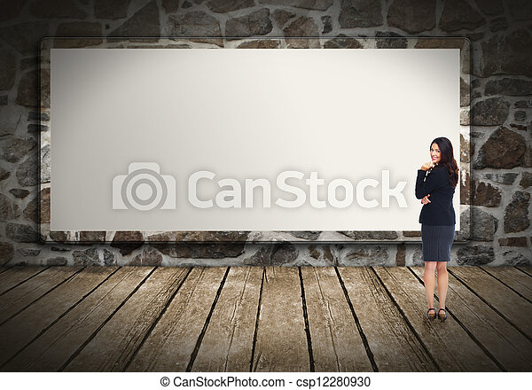 Business woman near billboard. - csp12280930