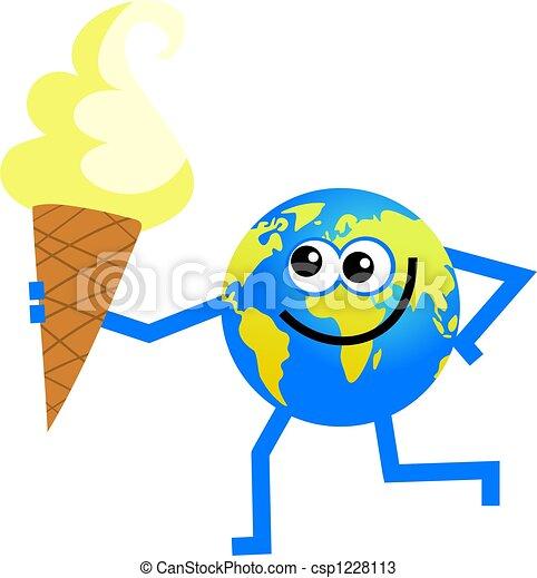 Man Cartoon Drawing Cartoon World Globe Man