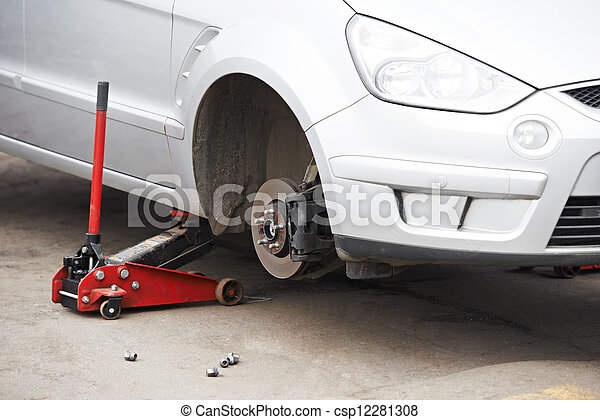 car during Tyre replacement - csp12281308