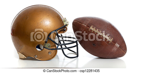 A retro gold football helmet and football on a white background - csp12281435