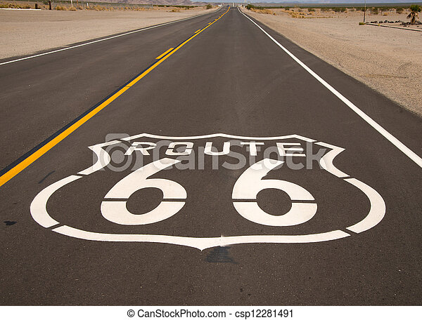 A Historic Route 66 painted on a highway - csp12281491