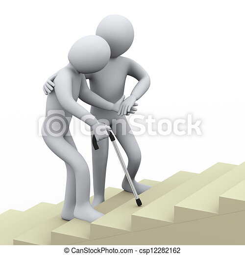 3d person helping old man - csp12282162