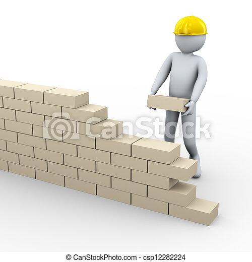Clip Art of 3d man building brick wall - 3d illustration of person ...