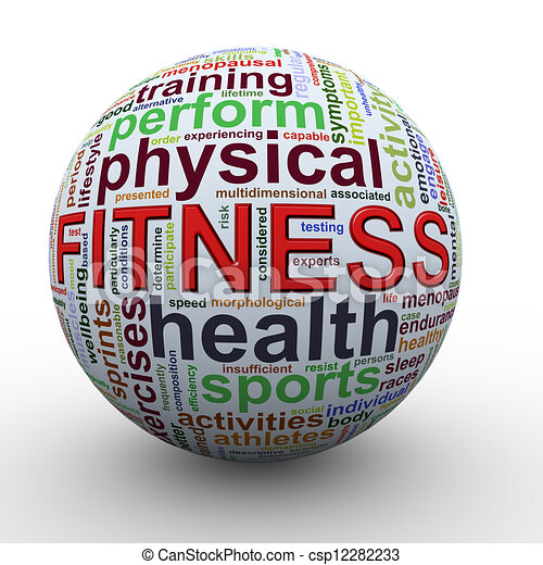 Fitness worcloud word tags ball - csp12282233