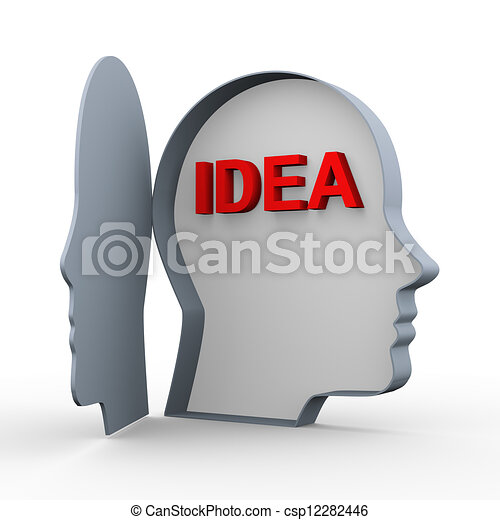 3d idea in human head - csp12282446