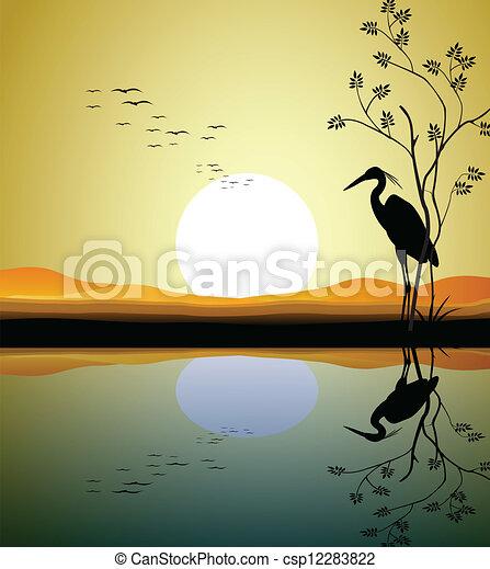 heron silhouette on lake  - csp12283822