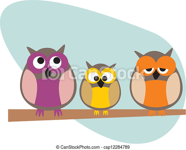 Owl family vector illustration - csp12284789
