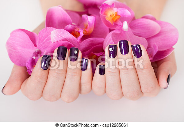 Woman with beautifully manicured nails - csp12285661