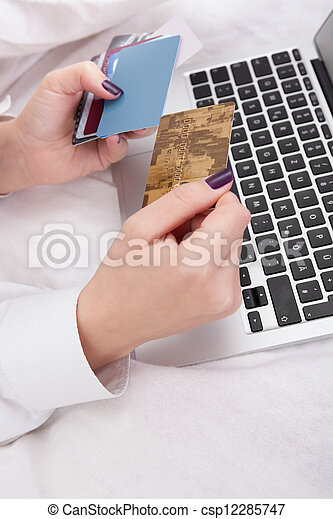 Woman banking or shopping online - csp12285747