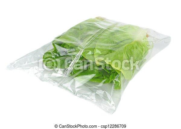 Plastic Bag of Lettuce - csp12286709