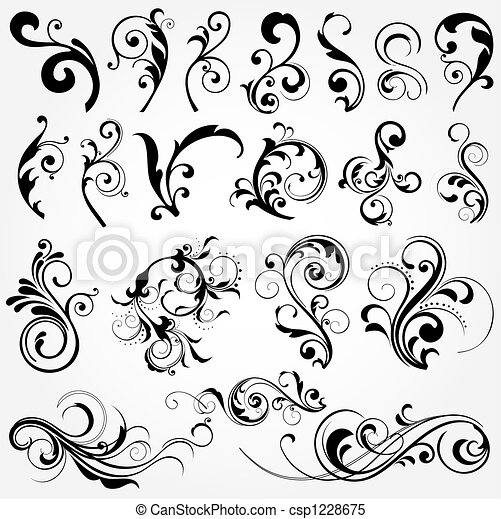 floral, elementos, diseño - csp1228675