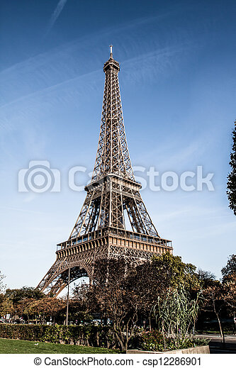 The Eiffel tower is one of the most recognizable landmarks in the world.  - csp12286901