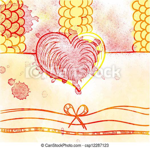 Valentine day card in grunge style - csp12287123