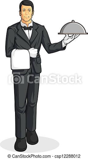 Butler or Waiter Serving Tray  Butler Servant Clipart