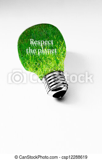 grass inside light bulb on white, concept of clean energy - csp12288619