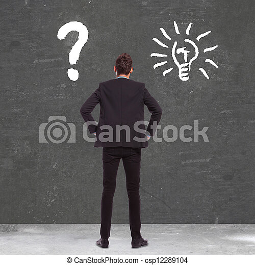 business man between confusion and a great idea - csp12289104