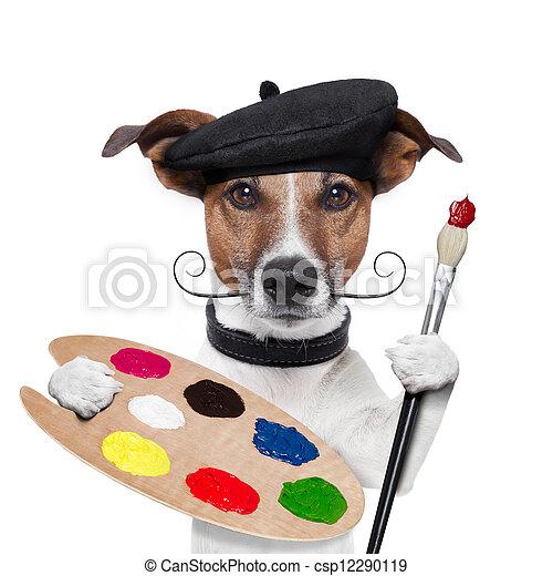 Dog Using Paint Brush