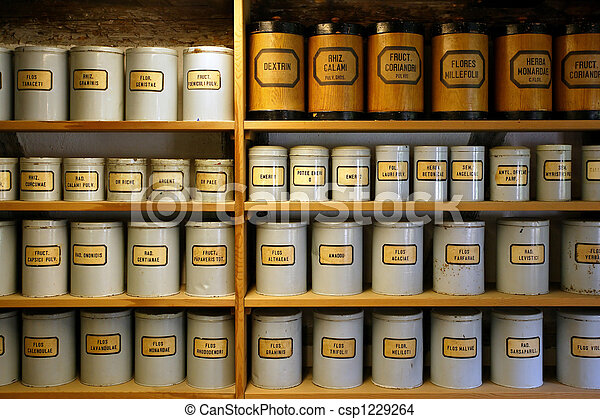 Vintage pharmacy canisters - csp1229264
