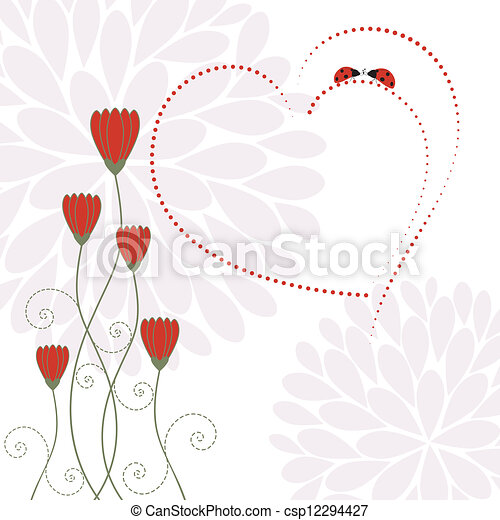 Springtime Love Card with Flower - csp12294427