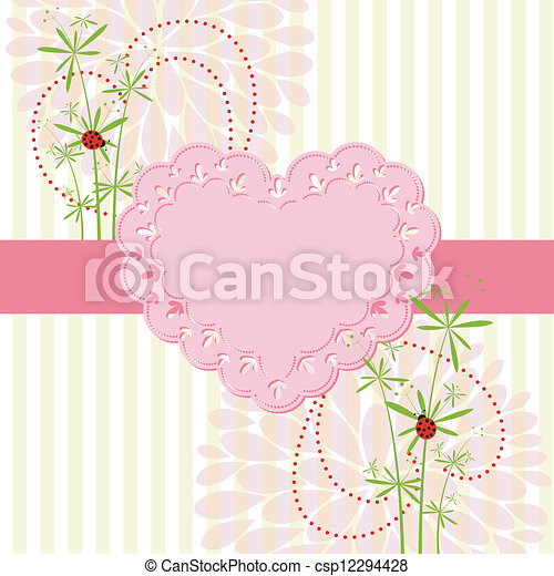 Springtime Love Card with Flower - csp12294428