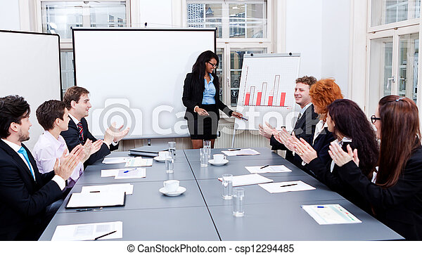 business conference presentation with team training - csp12294485