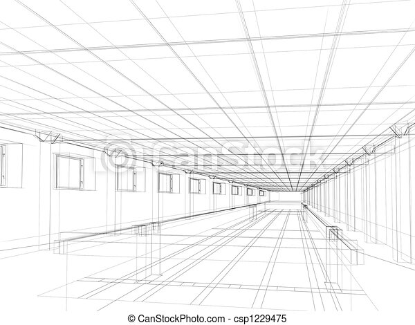 3d sketch of an interior of a public building - csp1229475